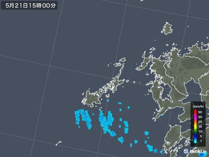 五島列島(長崎県)の雨雲の動き(2018年05月21日)