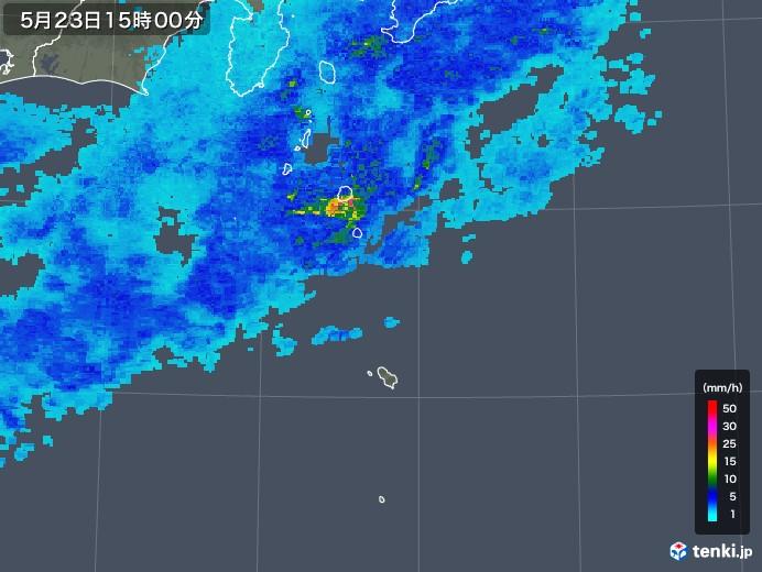 伊豆諸島(東京都)の雨雲の動き(2018年05月23日)