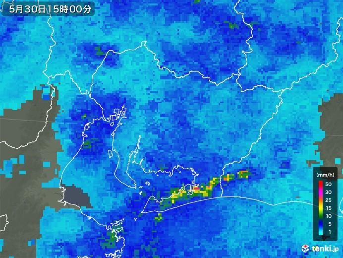 愛知県の雨雲レーダー(2018年05月30日)