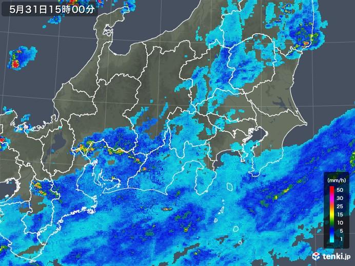 関東・甲信地方の雨雲レーダー(2018年05月31日)