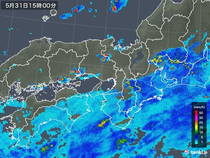 近畿地方の雨雲レーダー(2018年05月31日)