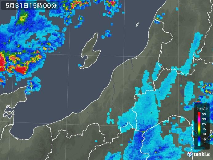 新潟県の雨雲レーダー(2018年05月31日)