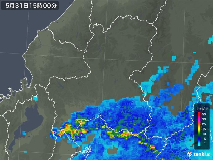 岐阜県の雨雲レーダー(2018年05月31日)