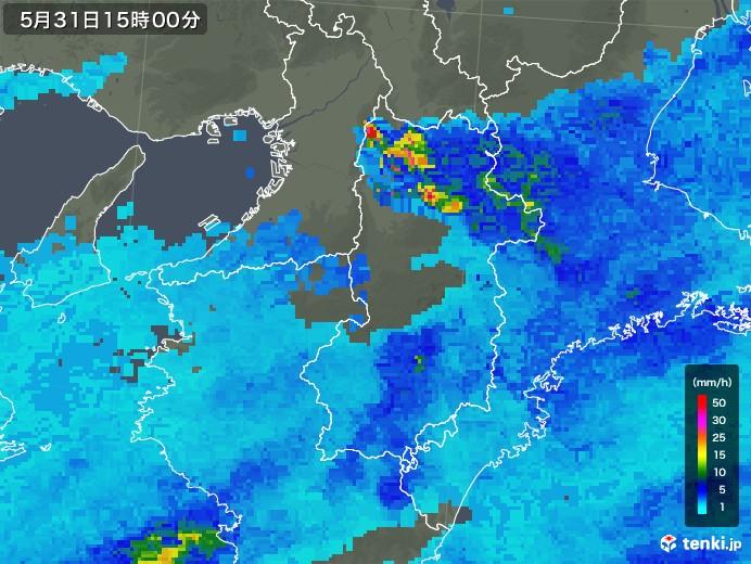 奈良県の雨雲レーダー(2018年05月31日)