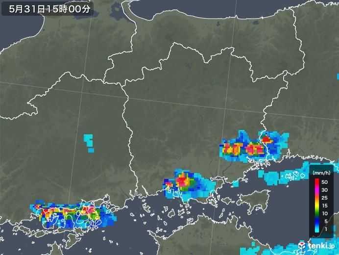 岡山県の雨雲レーダー(2018年05月31日)
