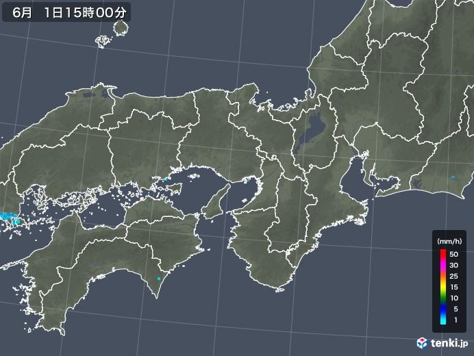 近畿地方の雨雲レーダー(2018年06月01日)