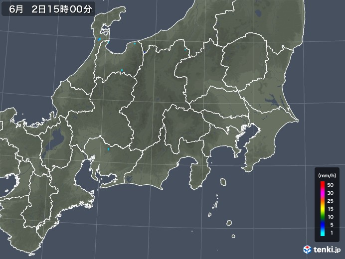 関東・甲信地方の雨雲レーダー(2018年06月02日)