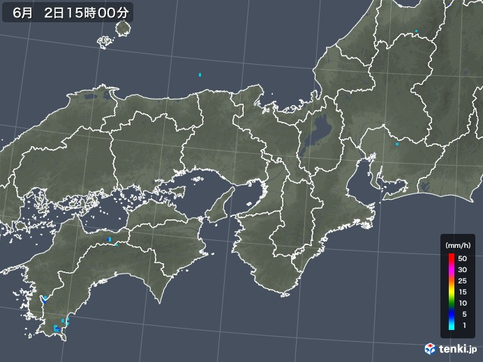 近畿地方の雨雲レーダー(2018年06月02日)