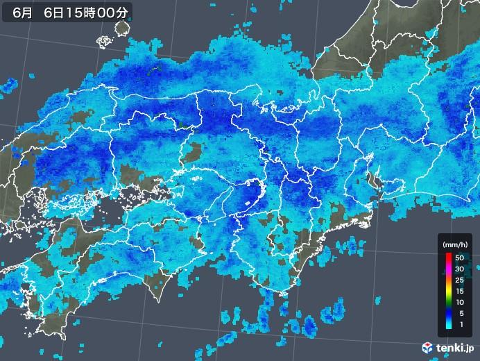 近畿地方の雨雲レーダー(2018年06月06日)