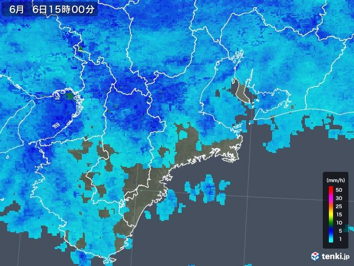 三重県の雨雲レーダー(2018年06月06日)