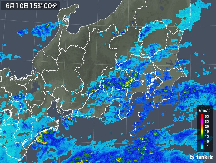 関東・甲信地方の雨雲の動き(2018年06月10日)