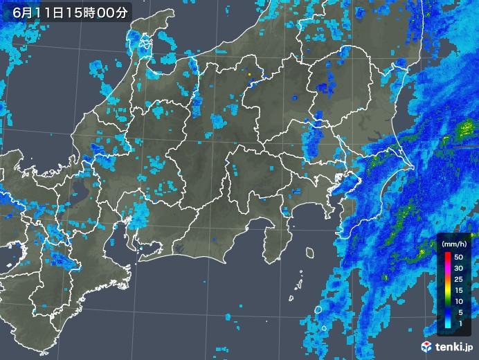 関東・甲信地方の雨雲の動き(2018年06月11日)