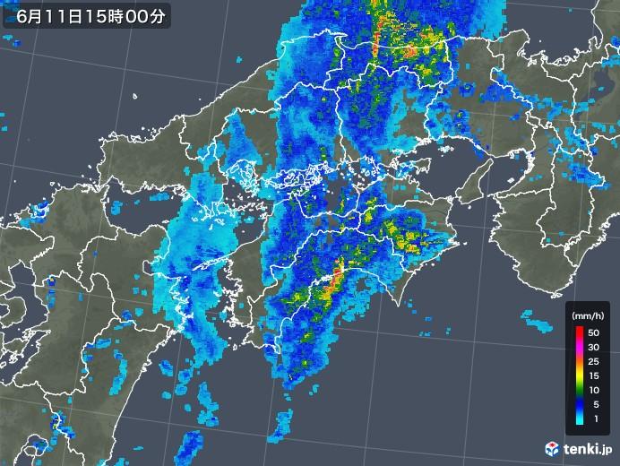 四国地方の雨雲の動き(2018年06月11日)