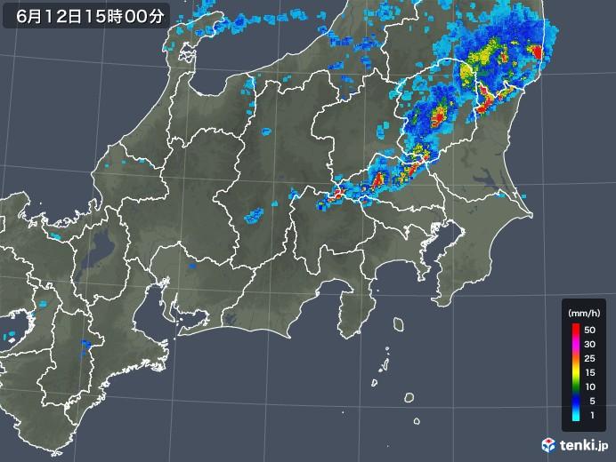 関東・甲信地方の雨雲の動き(2018年06月12日)