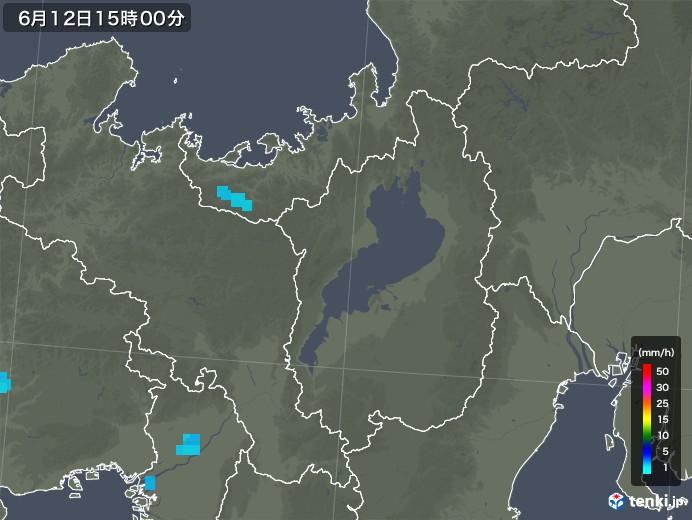 滋賀県の雨雲レーダー(2018年06月12日)