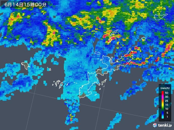 沖縄県の雨雲の動き(2018年06月14日)