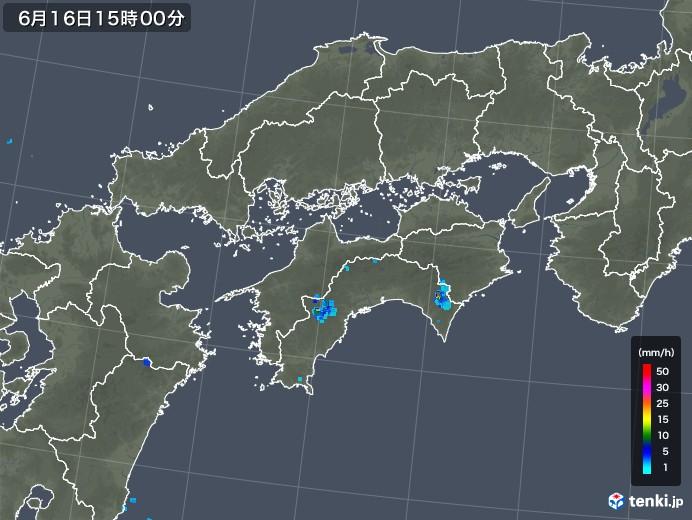 四国地方の雨雲レーダー(2018年06月16日)