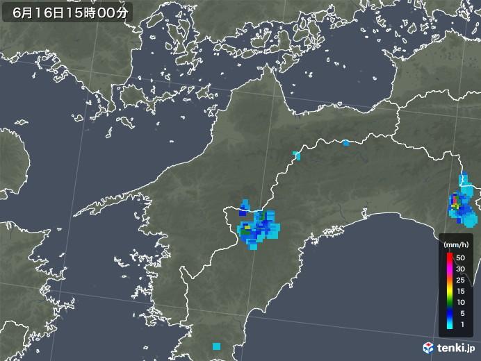 愛媛県の雨雲レーダー(2018年06月16日)