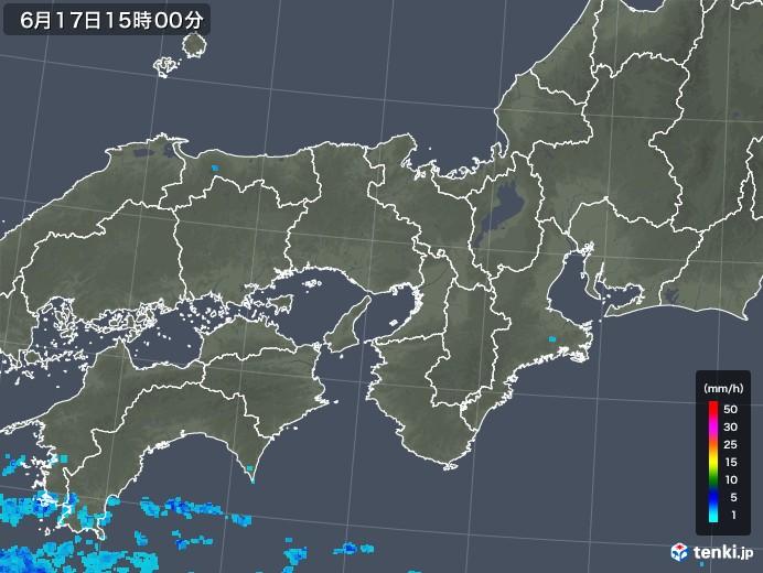 近畿地方の雨雲レーダー(2018年06月17日)