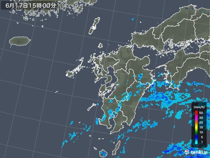 九州地方の雨雲レーダー(2018年06月17日)