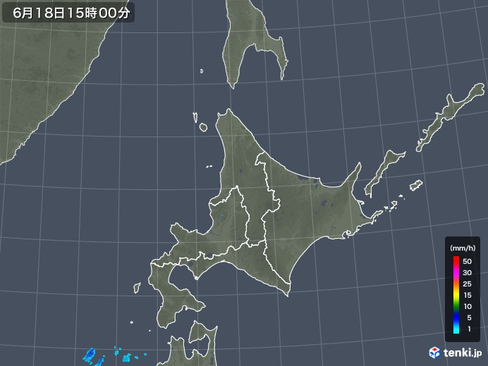 北海道地方の雨雲レーダー(2018年06月18日)
