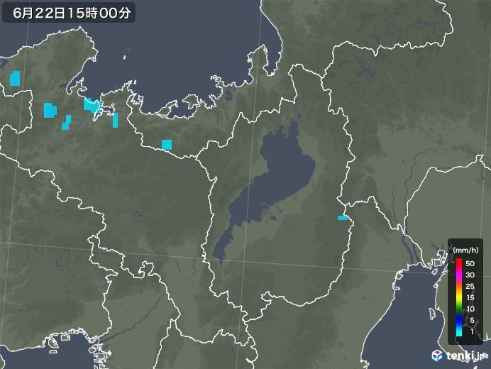 滋賀県の雨雲レーダー(2018年06月22日)