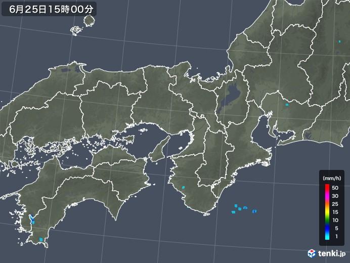 近畿地方の雨雲レーダー(2018年06月25日)