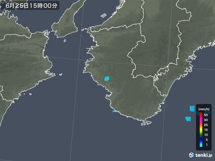 和歌山県の雨雲レーダー(2018年06月25日)