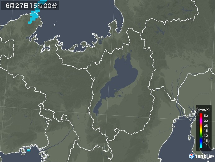 滋賀県の雨雲レーダー(2018年06月27日)