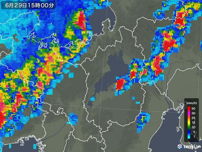 滋賀県の雨雲レーダー(2018年06月29日)