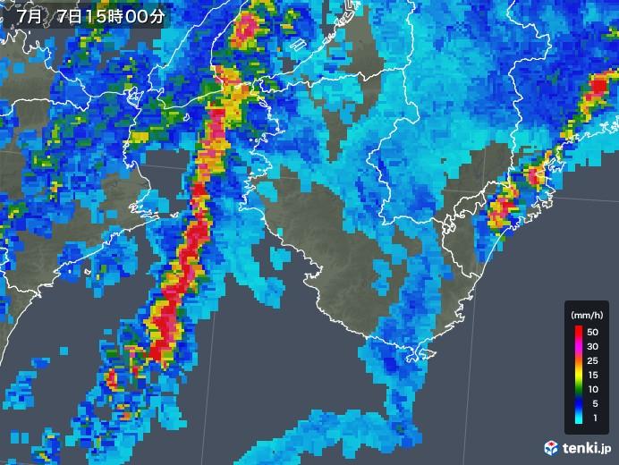 和歌山県の雨雲の動き(2018年07月07日)