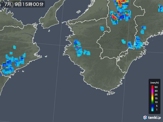 和歌山県の雨雲の動き(2018年07月09日)