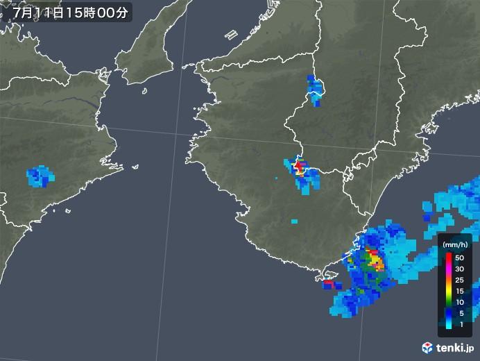 和歌山県の雨雲の動き(2018年07月11日)