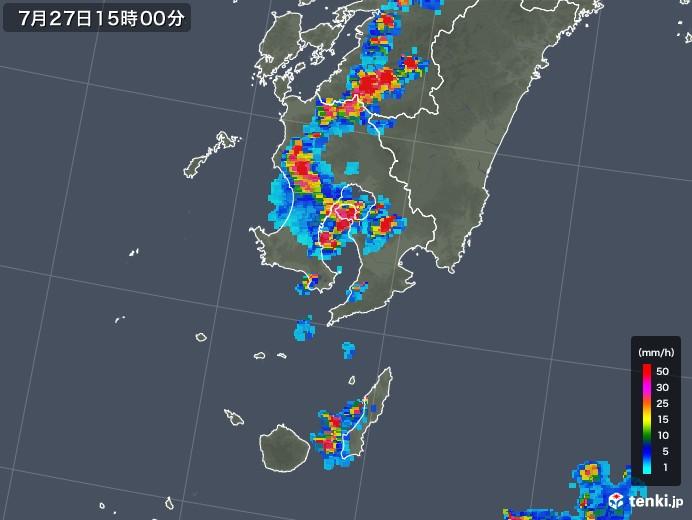 鹿児島県の雨雲レーダー(2018年07月27日)