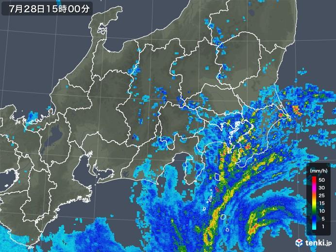 関東・甲信地方の雨雲レーダー(2018年07月28日)