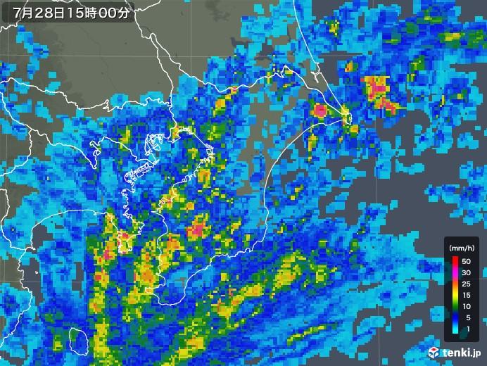 千葉県の雨雲レーダー(2018年07月28日)
