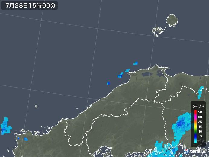 島根県の雨雲レーダー(2018年07月28日)