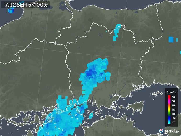 岡山県の雨雲レーダー(2018年07月28日)