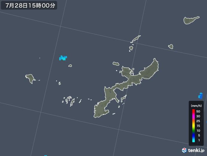 沖縄県の雨雲レーダー(2018年07月28日)