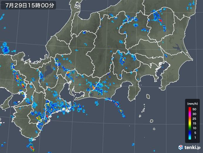 東海地方の雨雲レーダー(2018年07月29日)