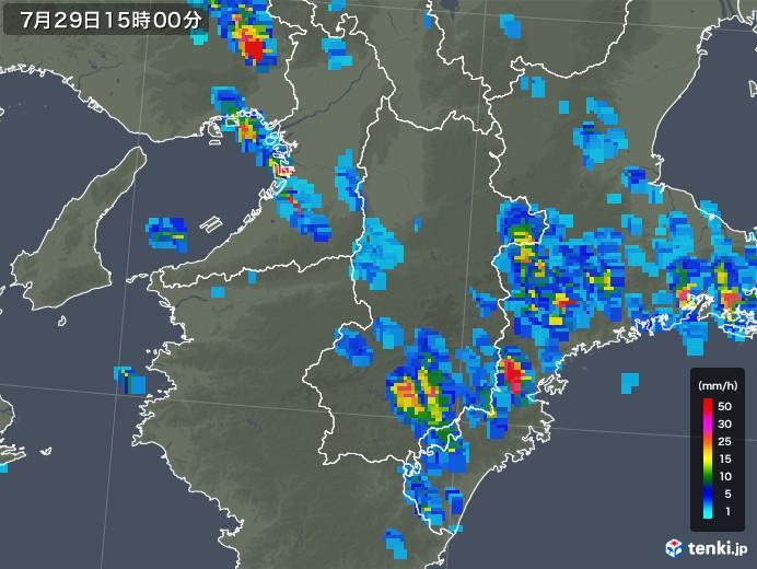 奈良県の雨雲の動き(2018年07月29日)