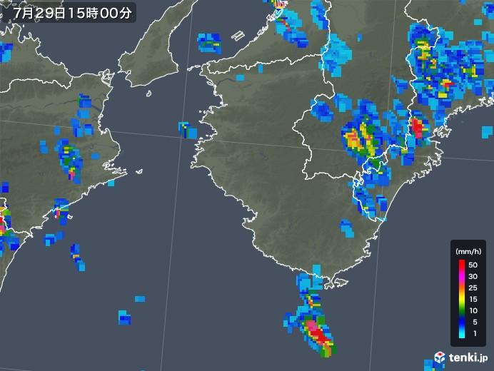和歌山県の雨雲の動き(2018年07月29日)