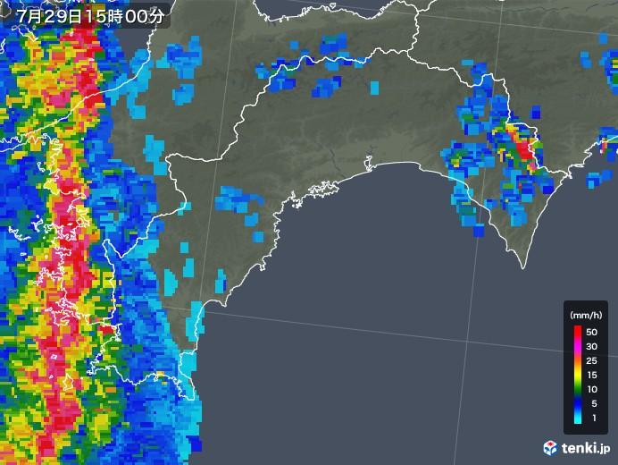 高知県の雨雲レーダー(2018年07月29日)