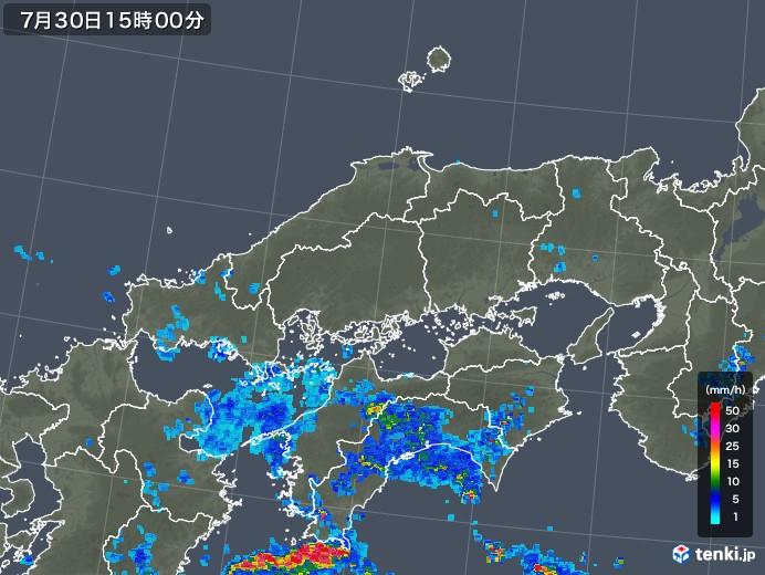中国地方の雨雲レーダー(2018年07月30日)