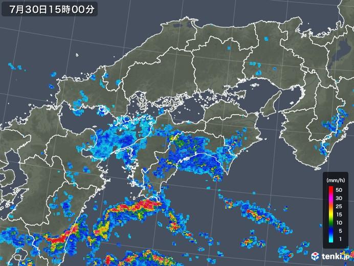 四国地方の雨雲レーダー(2018年07月30日)