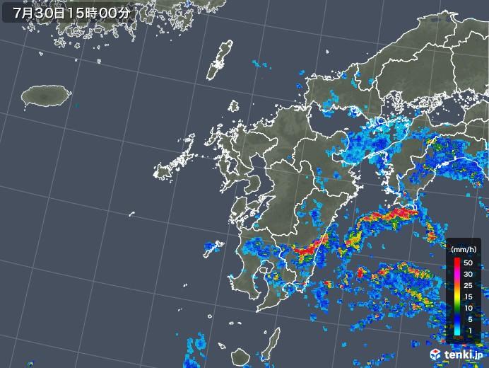 九州地方の雨雲レーダー(2018年07月30日)