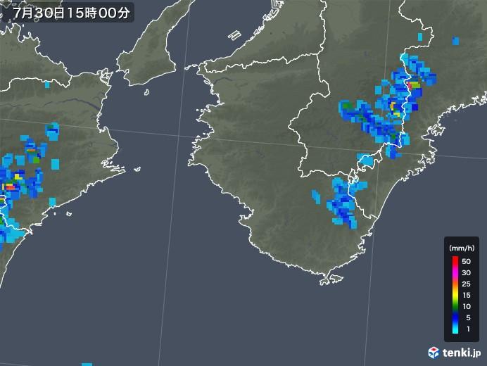和歌山県の雨雲レーダー(2018年07月30日)
