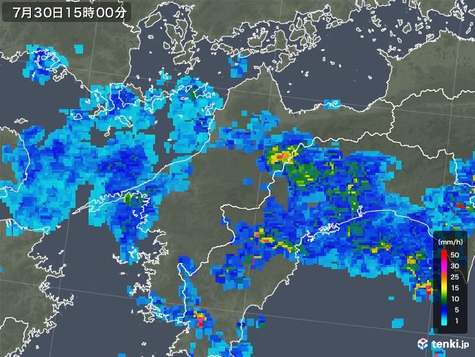 愛媛県の雨雲レーダー(2018年07月30日)