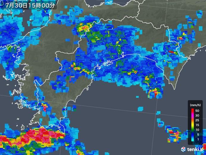 高知県の雨雲レーダー(2018年07月30日)