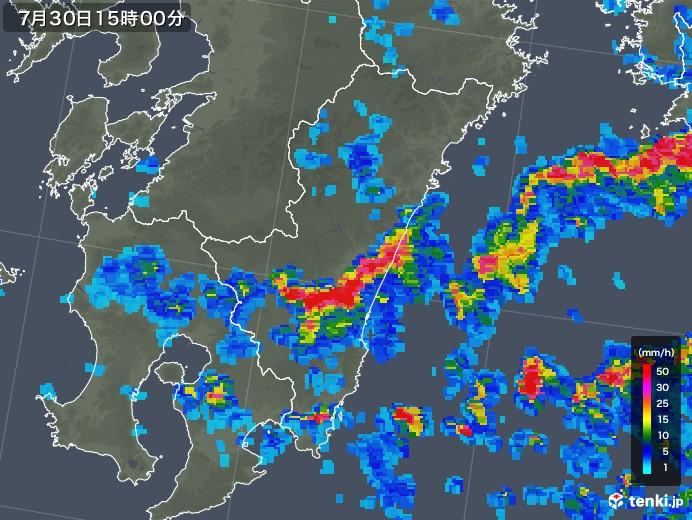 宮崎県の雨雲レーダー(2018年07月30日)